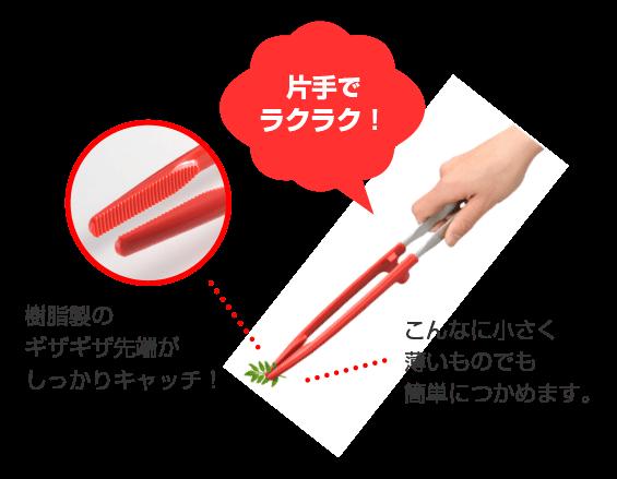 片手でラクラク!樹脂製のギザギザ先端がしっかりキャッチ!こんなに小さく薄いものでも簡単につかめます。